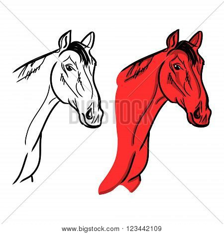 Vector on white background. The figure of the red horse