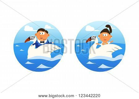 illustration of groom and bride floating in water on swans