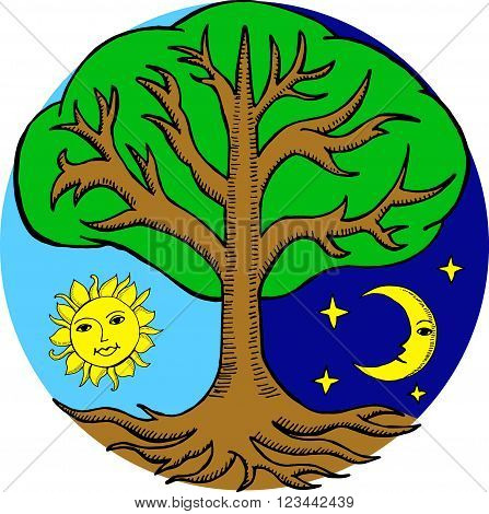 Alchemy Tree With A Sun And A Moon From Different Sides Of It. Night And Day.