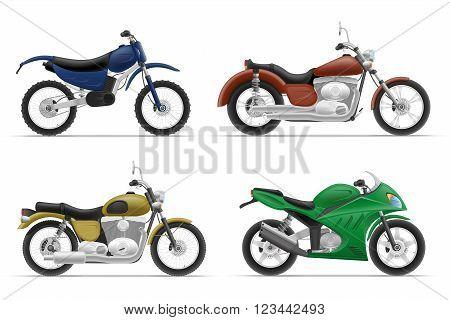motorcycle set icons vector illustration isolated on white background