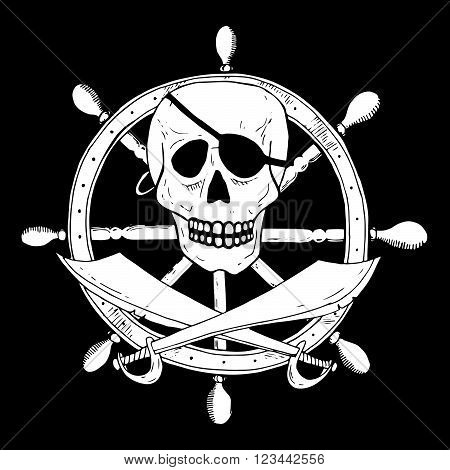Pirate Sign With Skull And Sabers With A Helm On Background