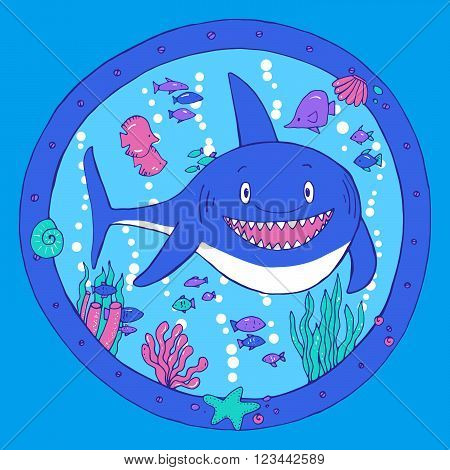 A Shark In A Porthole. Underwater Life.