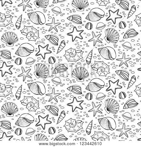 Seamless Patten With Shells In Sketch Style