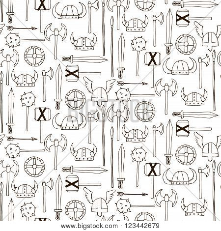 Seamless Pattern With Viking Weapons