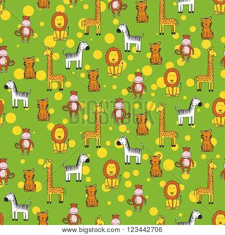 Seamless Pattern With Animals In Zoo