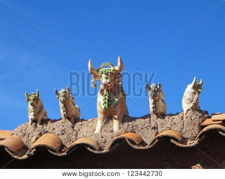 Clay Livestock Idol Statues At The Entrance To Raqch'i Or Temple Of Wiracocha,   Peru