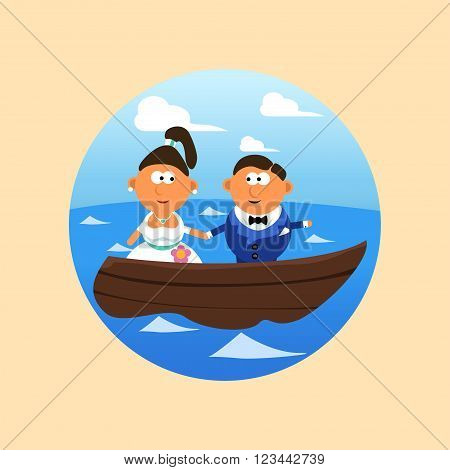 illustration of groom and bride float in lake