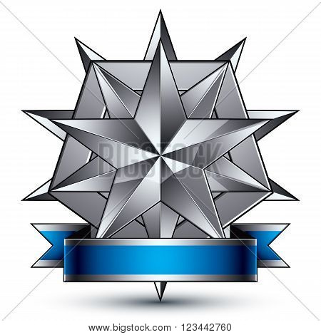 Sophisticated Vector Emblem With Silver Glossy Star And Blue Wavy Ribbon, 3D Decorative Shield Desig