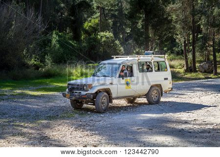 NEVE SHALOM ISRAEL - MARCH 24: SUV rides on the country road among trees in forest Neve Shalom Israel on March 24 2016