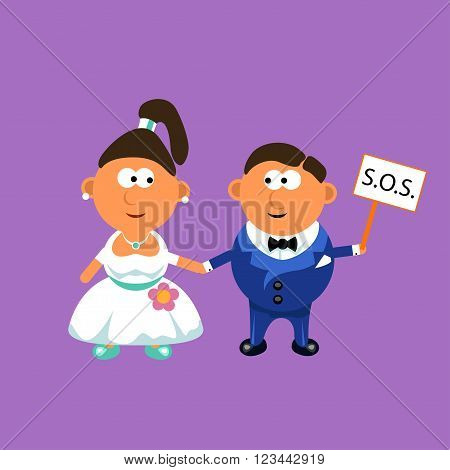illustration of groom and bride holding by hands each other and sos