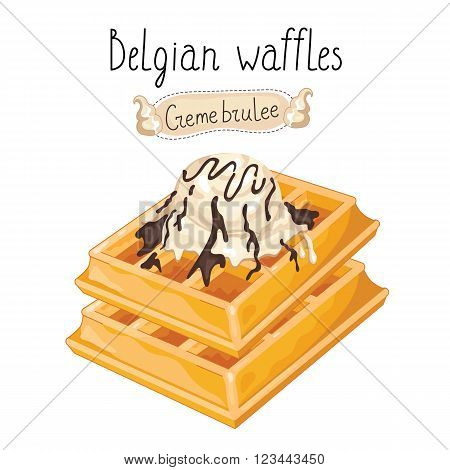 Belgian waffles with ice cream on white background, vector illustration.