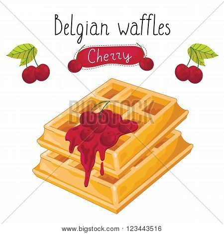 Belgian waffles with raspberry jam on white background, vector illustration.