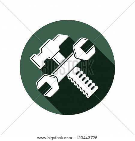 Detailed Illustration Of Hammer And Wrench Crossed, Work Tools. Industry Utensil Vector Symbol, Mall