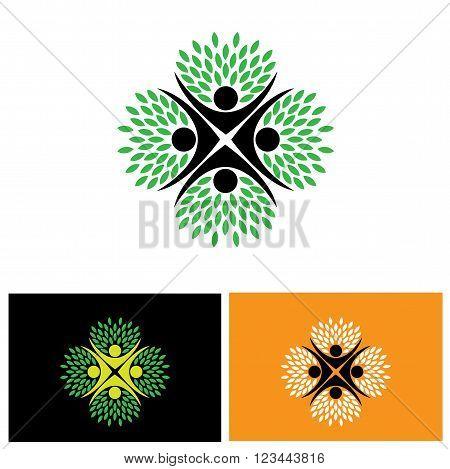 Tree Person Logo Vector Icon Representing Friendship, Embracing, Hug