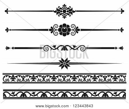 Decorative elements. Design elements - decorative line dividers and ornaments. Monochrome graphic element. Vector illustration.