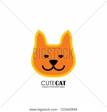 Vector Logo Icon Of Cute Cat Face