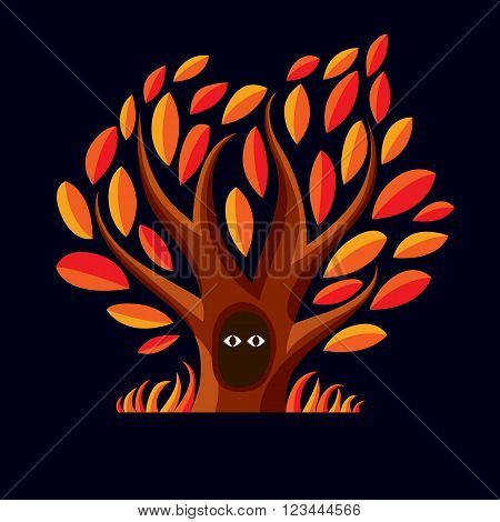 Vector Art Illustration Of Branchy Tree With Den. Two Eyes Of An Animal Looking From Hollow, Symboli
