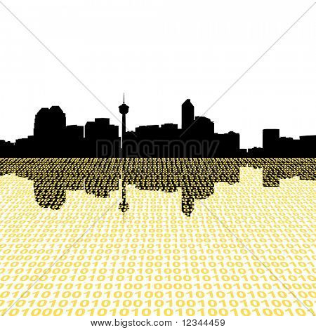 Calgary skyline with binary perspective foreground