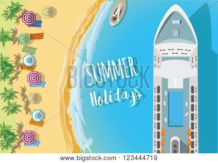 Holiday Background. Top view of sea, ship and beach with sand, umbrellas. Flat vector illustration.