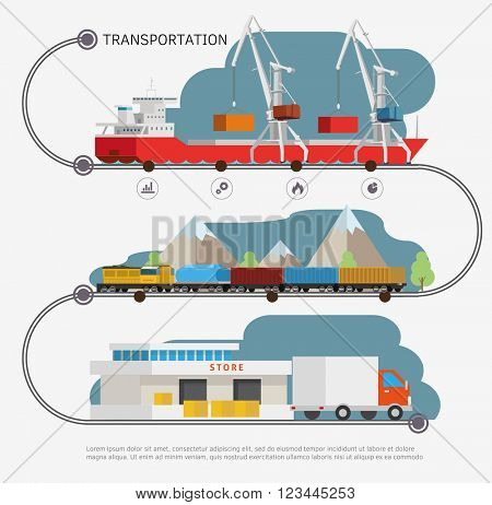 Infoghrphic time line with transport illustration. Transportation by water, by air, by train. Isometry illustration.
