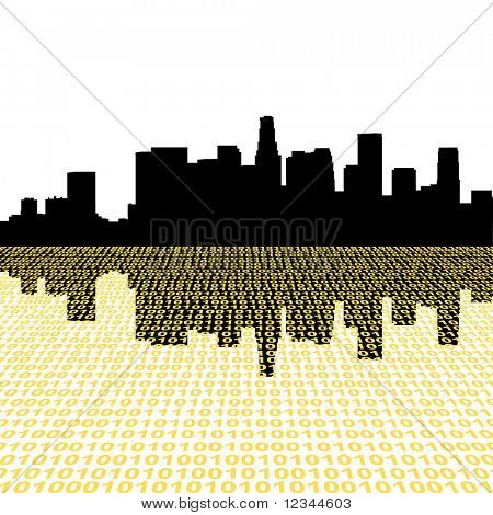 Los Angeles skyline with binary perspective foreground