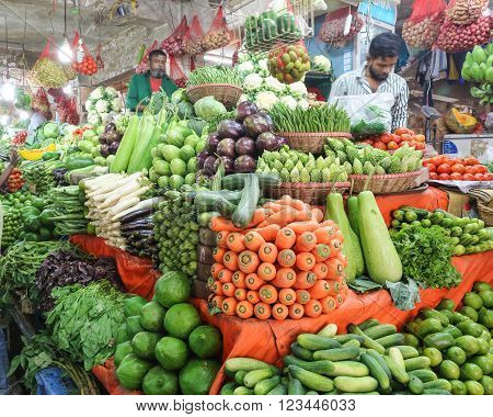 Dhaka, Bangladesh - February 17, 2016:  Vegetable market at Banani Bazar, In Bangladesh winter season is when wide range of fresh vegetable produce is available in market.