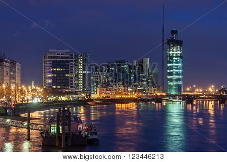 View of Vauxhall London by night, Great Britain