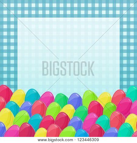 Easter Eggs Frame Cartoon Style Napkin Colorful 1