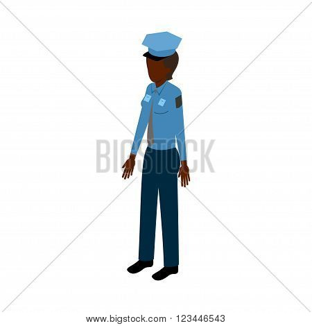 African-American woman in police uniform standing full face. Stock Vector Isometric-style games, infographics, reports, websites and icons