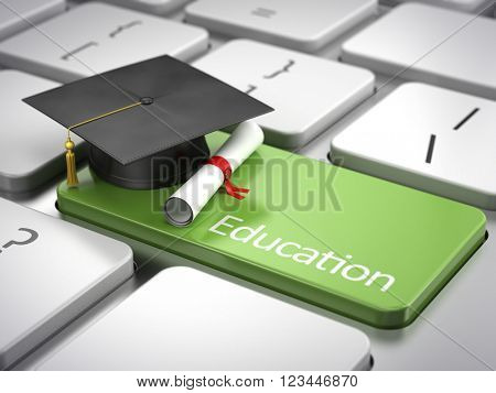 graduation cap and diploma on keyboard - education concept.3D rendering