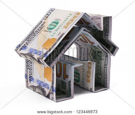 Dollar house isolated on white background.3D rendering
