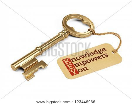 Golden key with Knowledge Empowers You tag isolated on white.3D rendering