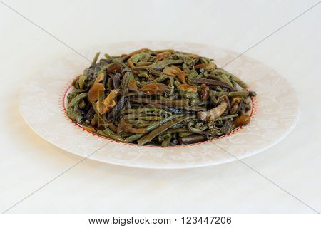 Salad With Salted Mushrooms And Common Bracken, Eagle Fern (pteridium Aquilinum) - Seafood In Russia