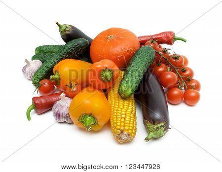 vegetables close-up isolated on white background. horizontal photo.