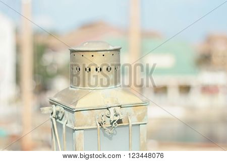 a lamp in an oasis town in the desert