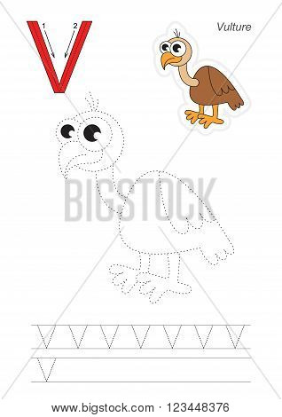 Vector exercise illustrated alphabet. Learn handwriting. Page to be traced. Complete english alphabet. Tracing worksheet for letter V