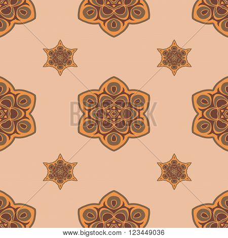 Seamless brown background boho chic. A series of universal patterns.