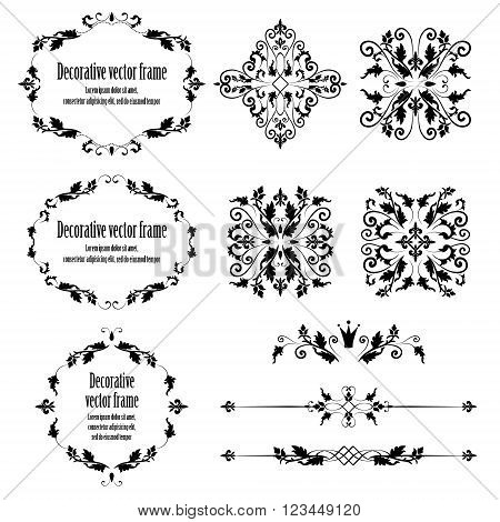 Floral design elements set, ornamental vintage objects, frames and dividers in black color. Vector editable illustration. Isolated on white background. Can use for birthday card, wedding invitations.