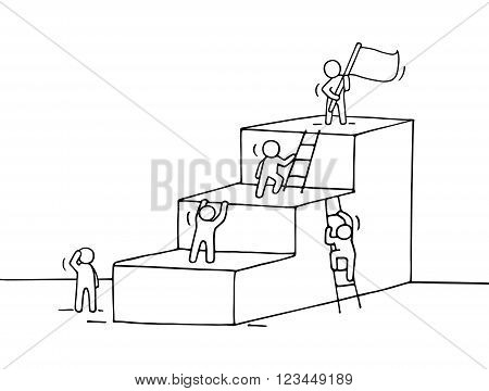 Sketch of career ladder with climbing little people. Doodle cute miniature of stairs with leader on the top. Hand drawn cartoon vector illustration for business design.