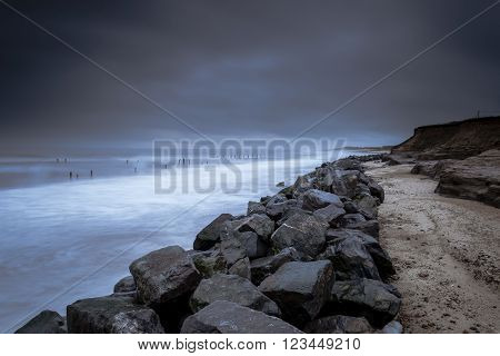 The new rock sea defense on the beach at Happisburgh.