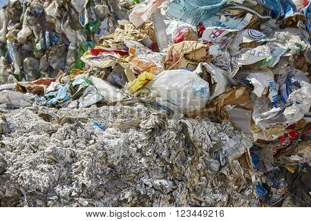 Recycled paper plastic compacted industrial garbage waste
