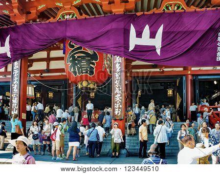 ASAKUSA, JAPAN - JULY 09, 2012 : People near the Sensoji Temple during Hozuki Ichi, Chinese Lantern Plant Fair