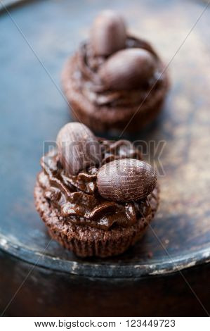 Fresh homemade chocolate cupcakes for Easter with chocolate frosting