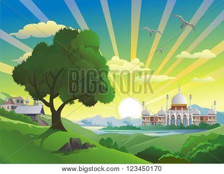 Landscape - Arab Palace over the lake.Vector illustration