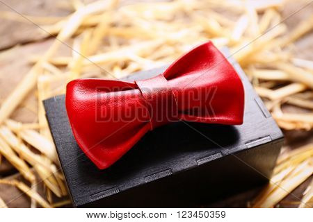 Red leather bow tie with special packaging on a thatch, close up
