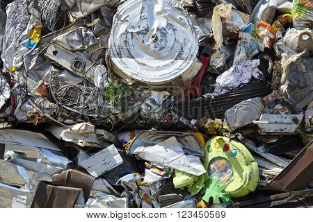 Scrap metal trash compacted waste for recycling industrial garbage