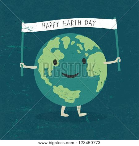 Cartoon Earth Illustration. Planet smile and hold banner with