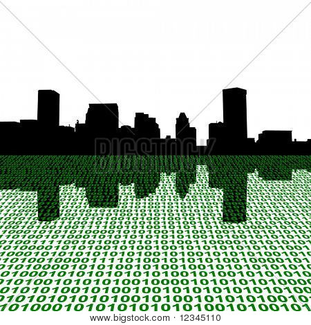 Baltimore skyline with binary perspective illustration