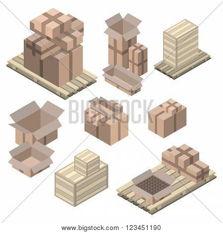 Set of isometric cardboard boxes isolated on white. Vector boxes and shelving Wood boxes