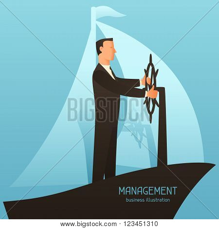 Management business conceptual illustration with businessman leading ship. Image for web sites, articles, magazines.
